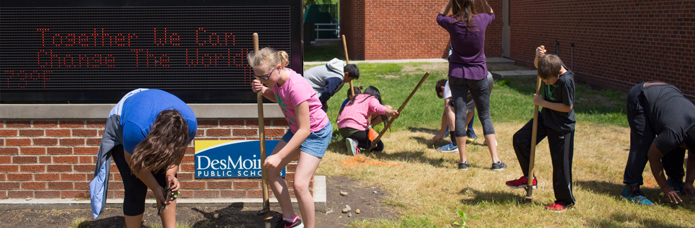 Perkins Elementary School Students Landscaping