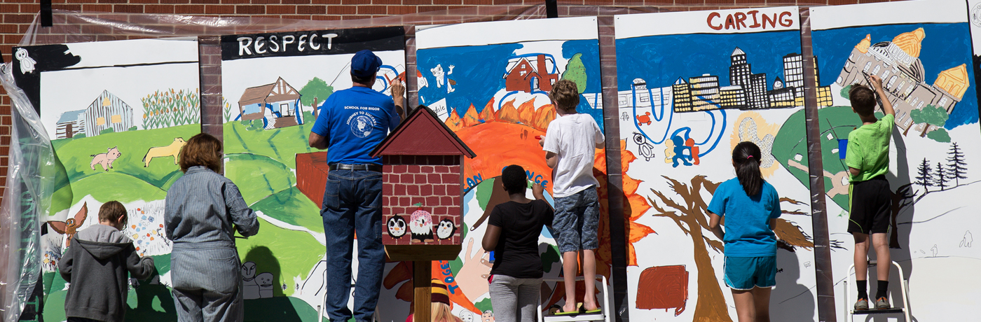 Perkins Elementary School Students Painting Mural