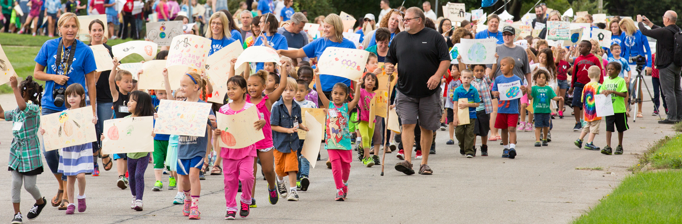 Perkins Elementary School Students Marching in Parade